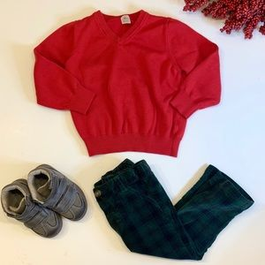 Carter's Red V-Neck Holiday Sweater (3T)
